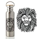 Abataka Stainless Steel Water Bottle 600ml. Bamboo Lid with Airtight Vacuum Seal. Lion Style Artwork & Double Walled Insulation. 100% BPA Free. The Ultimate Travel & Camping Flask.