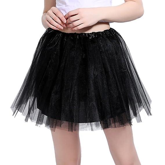 InnoBase Tutu Falda de Mujer Falda de Tul 50s Short Ballet 3 ...