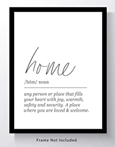 HOME Definition Wall Art - 11x14 UNFRAMED Print - Black and White Minimalist, Dictionary-Style Quote Typography Decor.