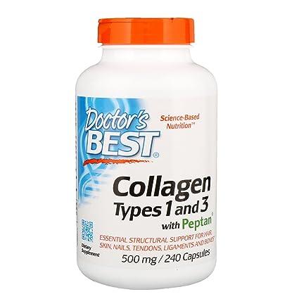 Doctors Best, Colágeno, Tipos 1 y 3 con Peptan, 500 mg, 240 ...