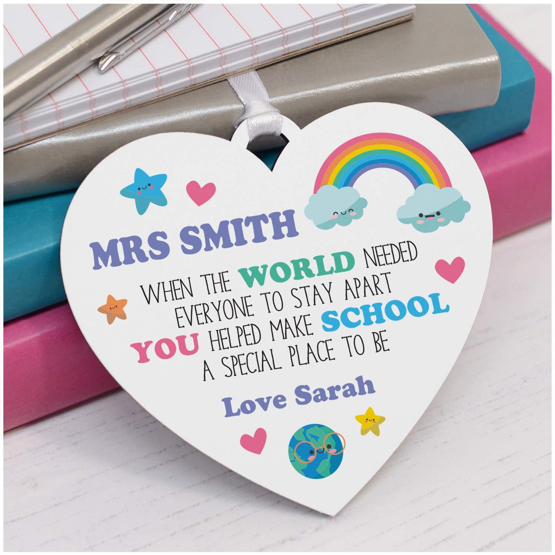 PERSONALISED Rainbow Teacher Appreciation Gifts Lockdown School Teacher Thank You Gifts Rainbow Teacher Plaque Gifts Lockdown Thank You Gifts for Teaching Assistant Key Worker