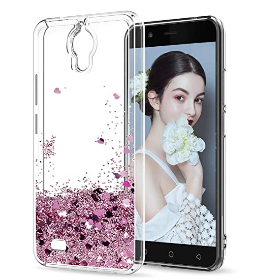 AT&T AXIA Case (QS5509A), Cricket Vision Case with HD Screen Protector for  Girls Women, LeYi Glitter Bling Moving Quicksand Liquid Clear Phone Case
