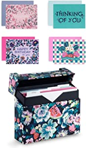 Vera Bradley Folded Card Set of 20 with Blank Interior and Envelopes, All Occasions, Rosy Garden Picnic