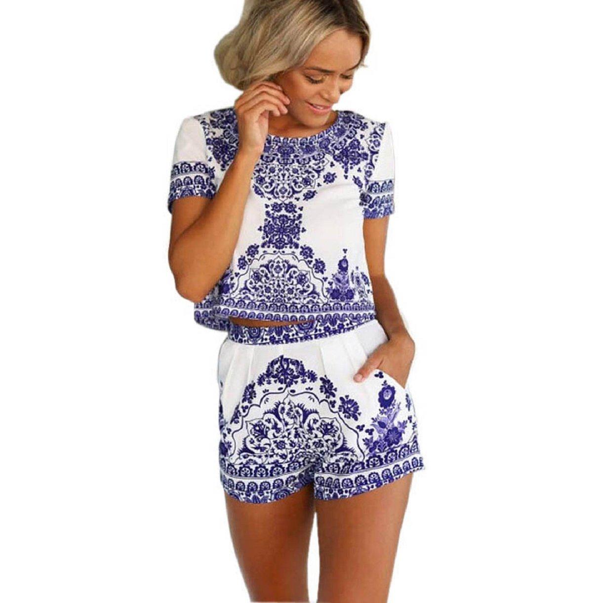 MokingWomen Blue and White Short Sleeve Blouese Shirt and Shorts Short Pants