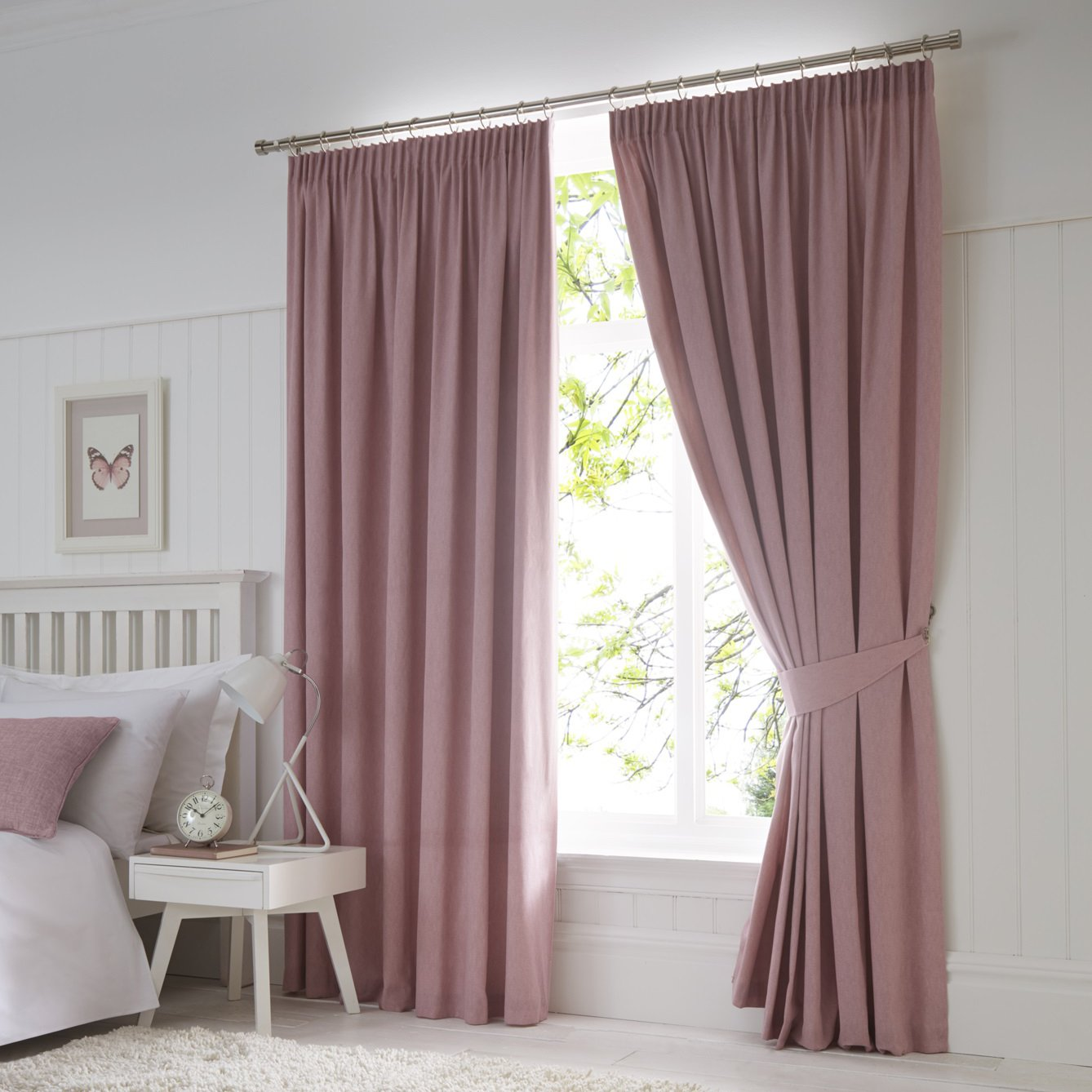 Just Contempo 90x72 Modern Blackout Pencil Pleat Curtains Fully Lined Blush Pink