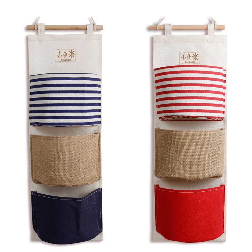 Wall Mounted Storage Bag 3 Bags Over The Door Storage Pockets Cotton Linen Fabric Wall Door Closet Hanging Storage Bag Organizer with 1pc Mug Coaster by HomRing(2 Pack-Blue+Red)