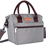 BALORAY Lunch Bag for Women Insulated Lunch Box with Adjustable Shoulder Strap,Water-Resistant Leakproof Cooler Lunch Tote Bag for Work/School/Picnic(Black&White Strip) (G-206 Black&White Strip)