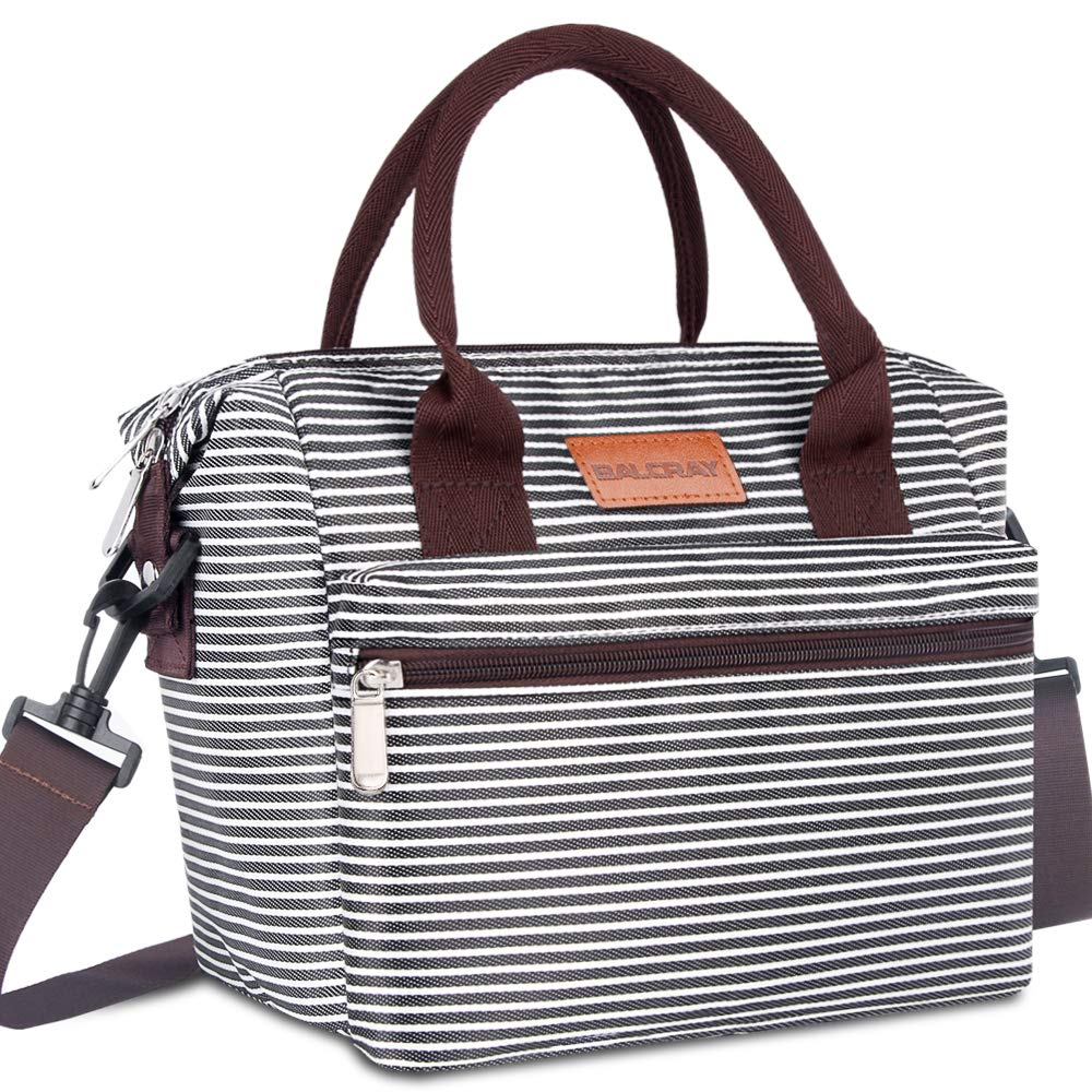 BALORAY Leakproof Lunch Bag for Women Adjustable Shoulder Strap Leakproof Cooler Lunch Tote Bag for Work/Picnic (Black White Strip) by BALORAY