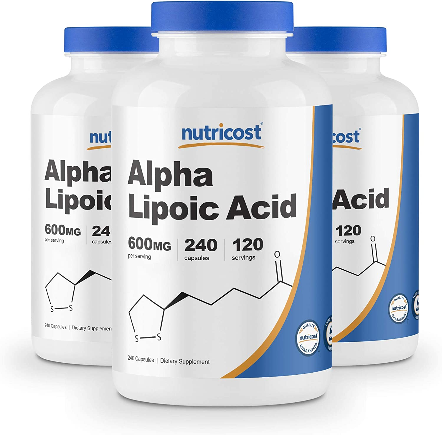 Nutricost Alpha Lipoic Acid - 600mg Serving 240 Caps (3 Bottles)