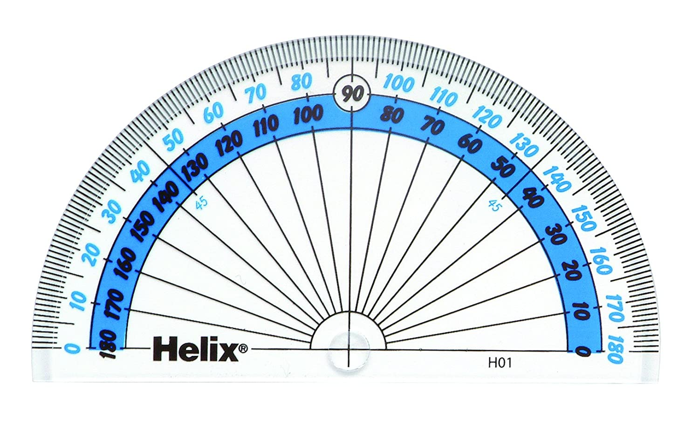 180/º Helix H01010 Transportador de /ángulos transparente 10 cm