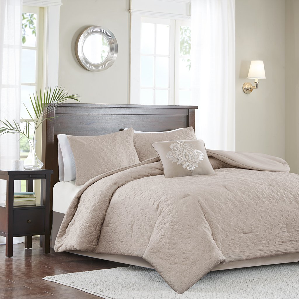 Madison Park MP10-2661 Quebec 5 Piece Comforter Set, California King, Khaki