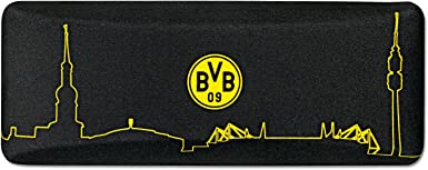 Borussia Dortmund – Funda para gafas, Negro, Metal/poliéster, 15,5 cm x 6,5 cm x 5 cm, Skyline, diseño de emblema de BVB, incluye gamuza Gafas (Negro)