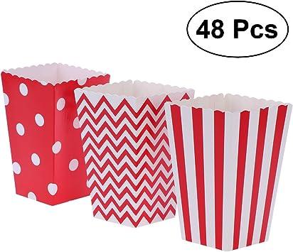 NUOLUX 48pcs Cajas de Palomitas cartón Caramelo contenedor patrón de Punto de Onda de Rugby Deco (Rojo): Amazon.es: Juguetes y juegos