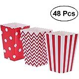 Boîtes à popcorn,48pcs Popcorn Carton Rugby Stripe Vague Motif Décoratif vaisselle pour les fêtes d'anniversaire / Baby Showers / Graduations (Rouge)