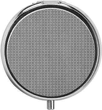 Escala de grises Repetición con motivo circular con forma de rombo Pastillero Estuche redondo para monedero/Pastillero de tres compartimentos/ Estuche: Amazon.es: Salud y cuidado personal