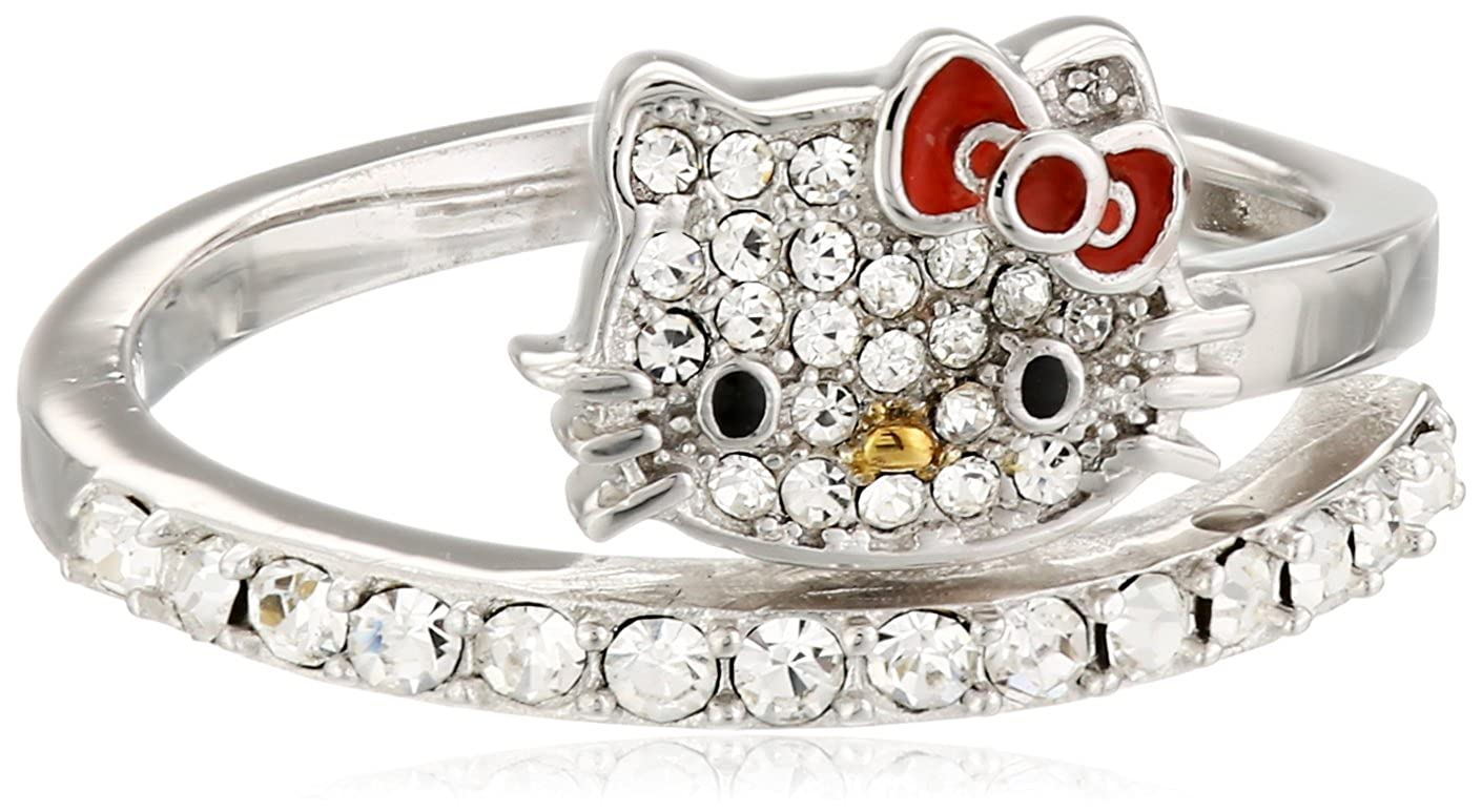 c573ed18d Hello Kitty Czech Crystals Flat Pave Face and Red Bow Girl's Spiral Ring, Size  7: Amazon.ca: Jewelry