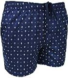 Costume Mare Uomo Blu Navy Fantasia Ancore Slim Fit Pantaloncino Corto Shorts