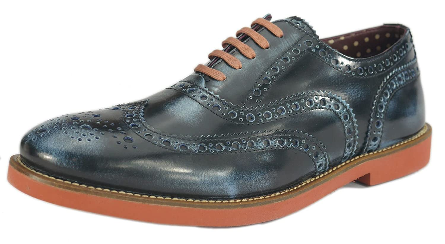 London Brogues Farnham Navy/Red Mens Leather Brogue Shoes, Size 8