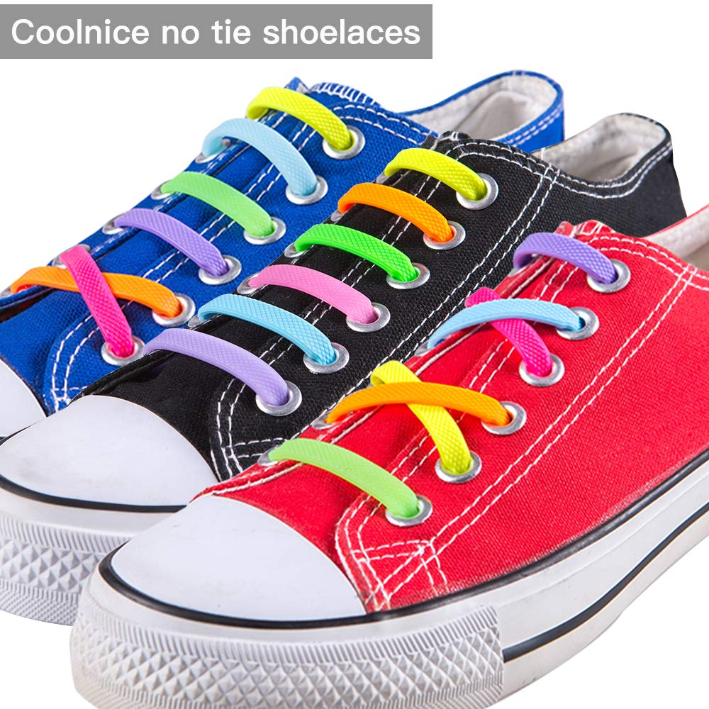 Coolnice® No Tie Shoelaces for Adults DIY bigger size DIY Adults 16pcs - Environmentally safe silicone - Lazy Shoestrings - Color of Negro by coolnice 5afb6e