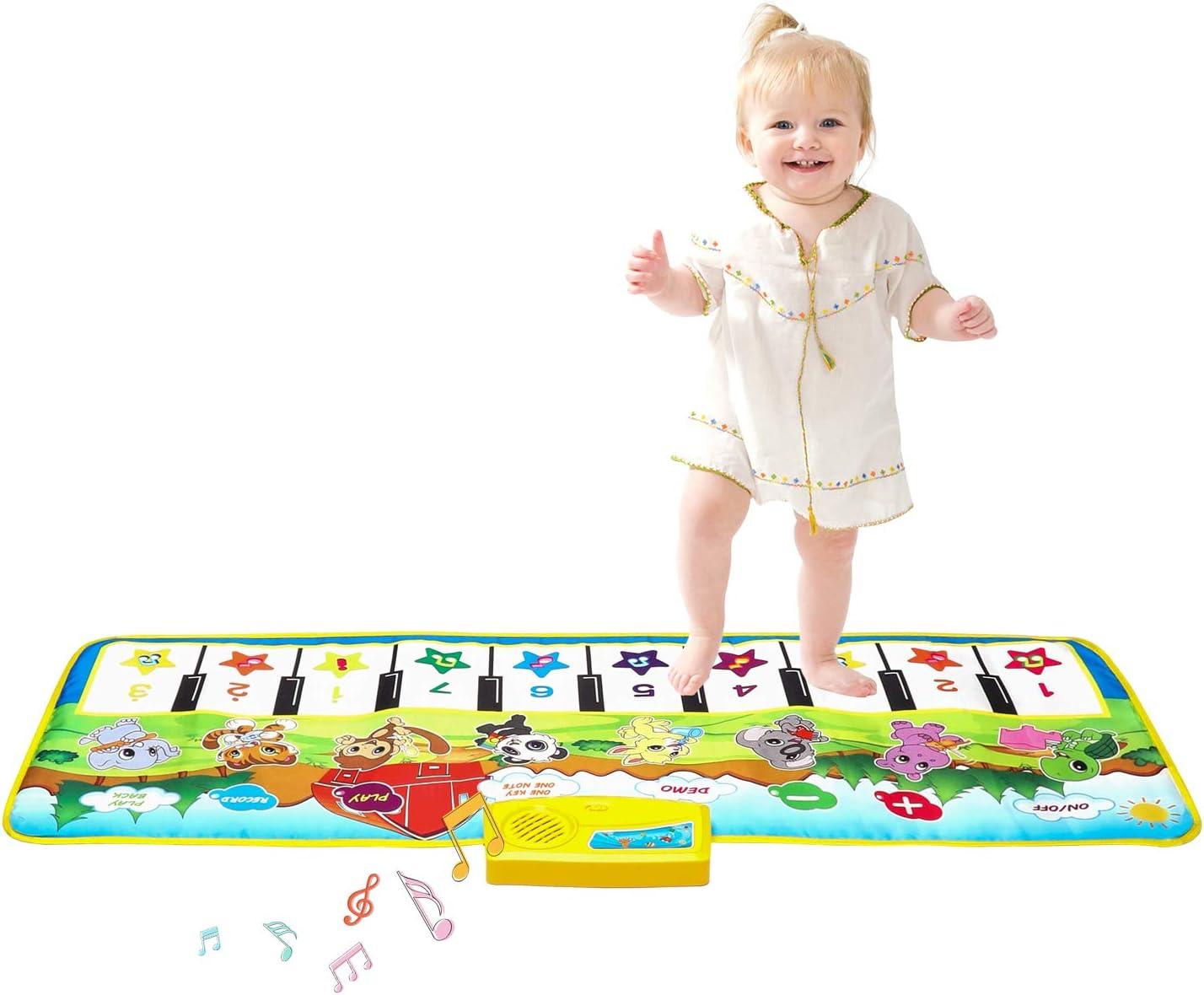 Zmoon Alfombrilla de Piano para Niños, Alfombrilla Musical Alfombrillas de Baile Alfombrillas Táctiles Teclado Estera de Alfombra para Bebé Niño
