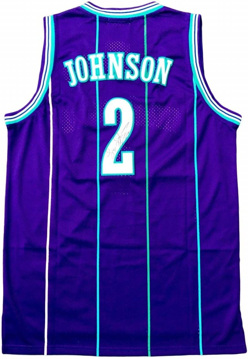 Larry Johnson Charlotte Hornets Away Purple Signed Jersey Jsa Autographed Nba Jerseys At Amazon S Sports Collectibles Store