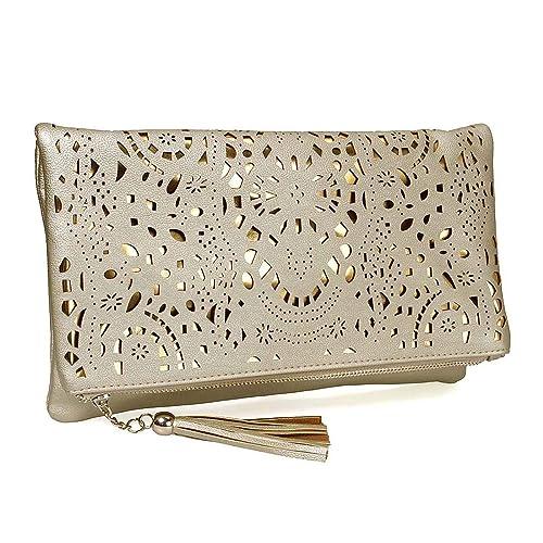 BMC - Cartera de mano para mujer Amarillo Glimmering Gold: Amazon.es: Zapatos y complementos