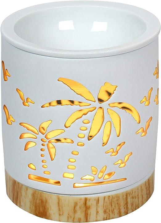 Portavelas de cer/ámica con Quemador de Aceite Esencial para aromaterapia OMG-Deal
