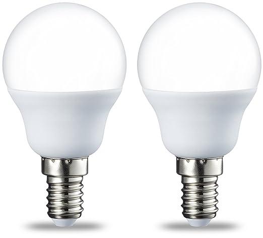 AmazonBasics Bombilla LED E14, P45, 5.5W (equivalente a 40W), Blanco