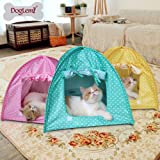 Doglemi Cat Pet Camping Tent House Foldable Bed Durable Cute Polka Dots Cave