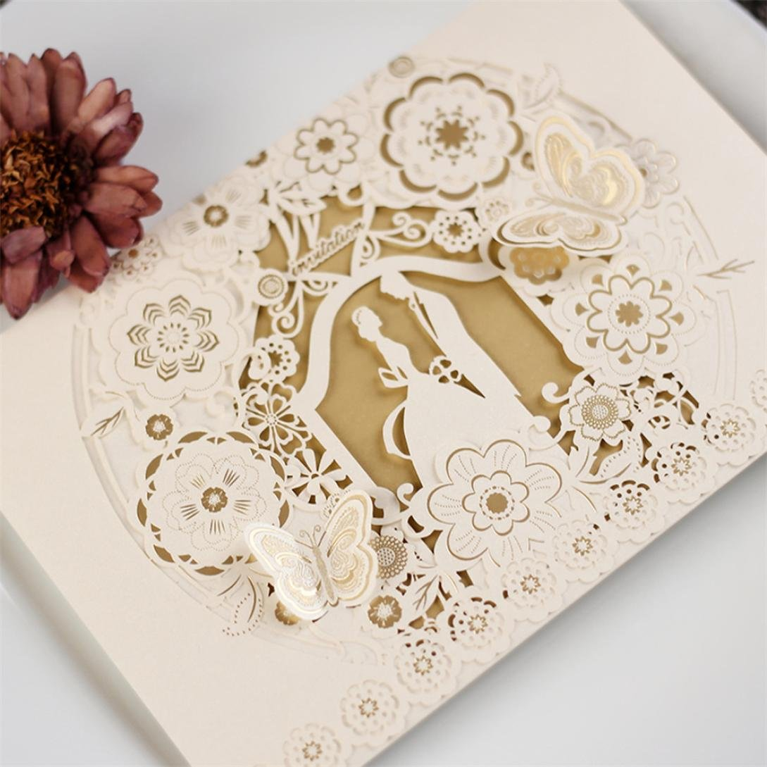 Cocal 10pcs Delicate Carved Romantic Wedding Party Invitation Card Envelope Kit With Blank Printable Paper And Envelopes For Weddingbirthday Partiesbaby: Blank Wedding Invitation Cards At Websimilar.org
