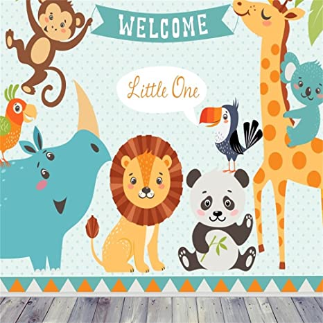 Amazon Com Ofila Cartoon Animals Backdrop 6x6ft Newborn Baby