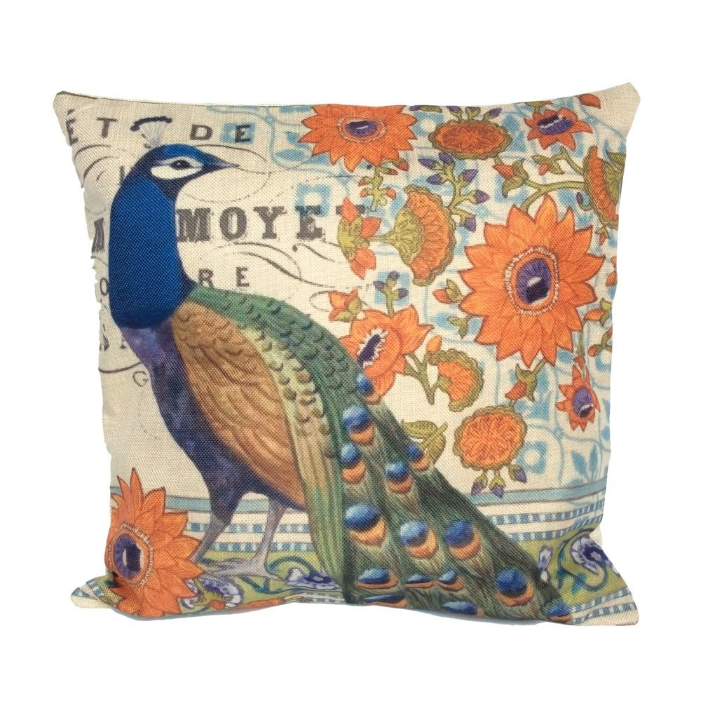 Monkeysell Peacock Pattern Vintage Cotton Linen Square Throw Pillow Case Decorative Cushion Cover