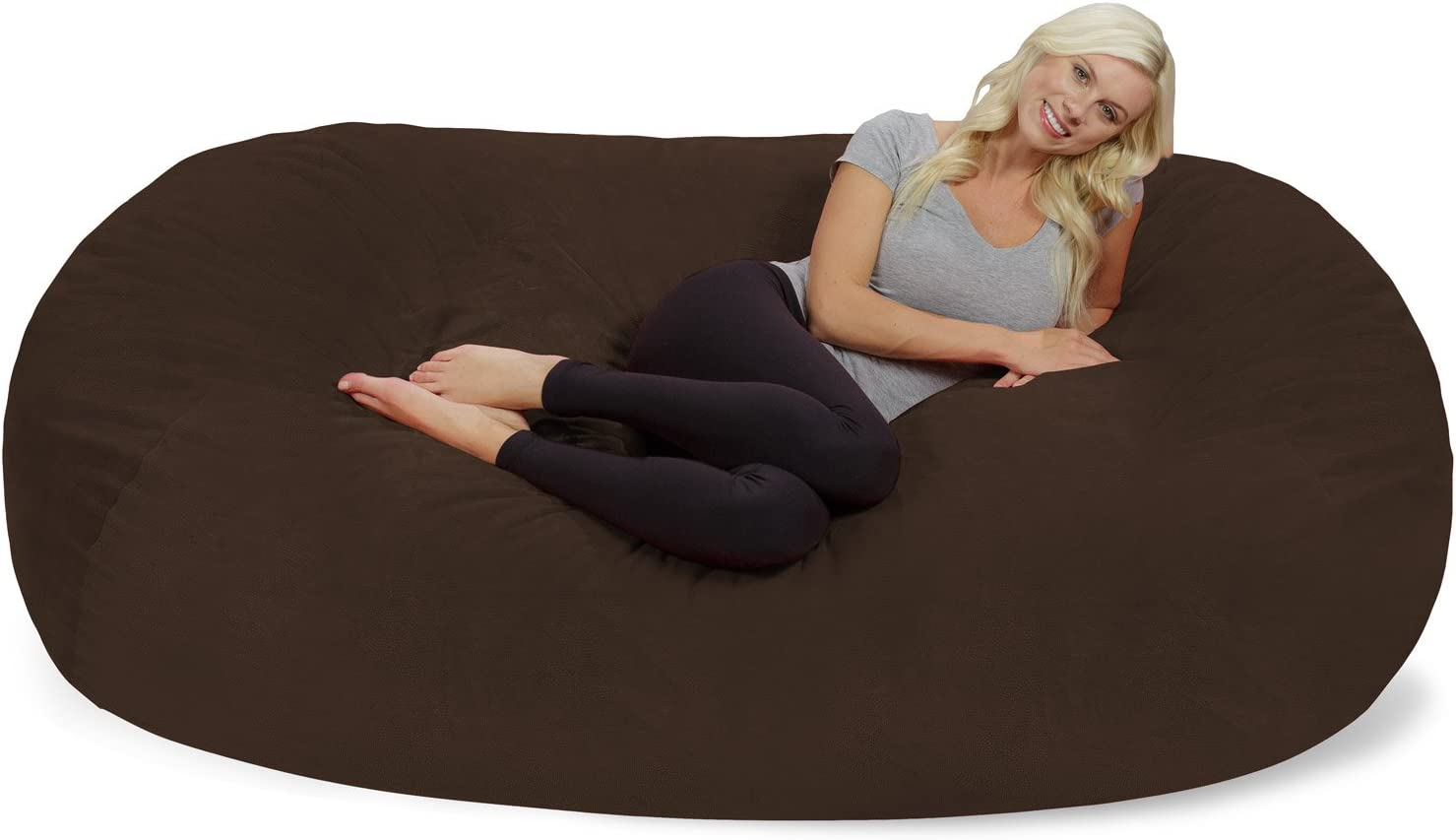 Chill Sack Bean Bag Chair: Huge 7.5' Memory Foam Furniture Bag and Large Lounger - Big Sofa with Soft Micro Fiber Cover - Brown Pebble