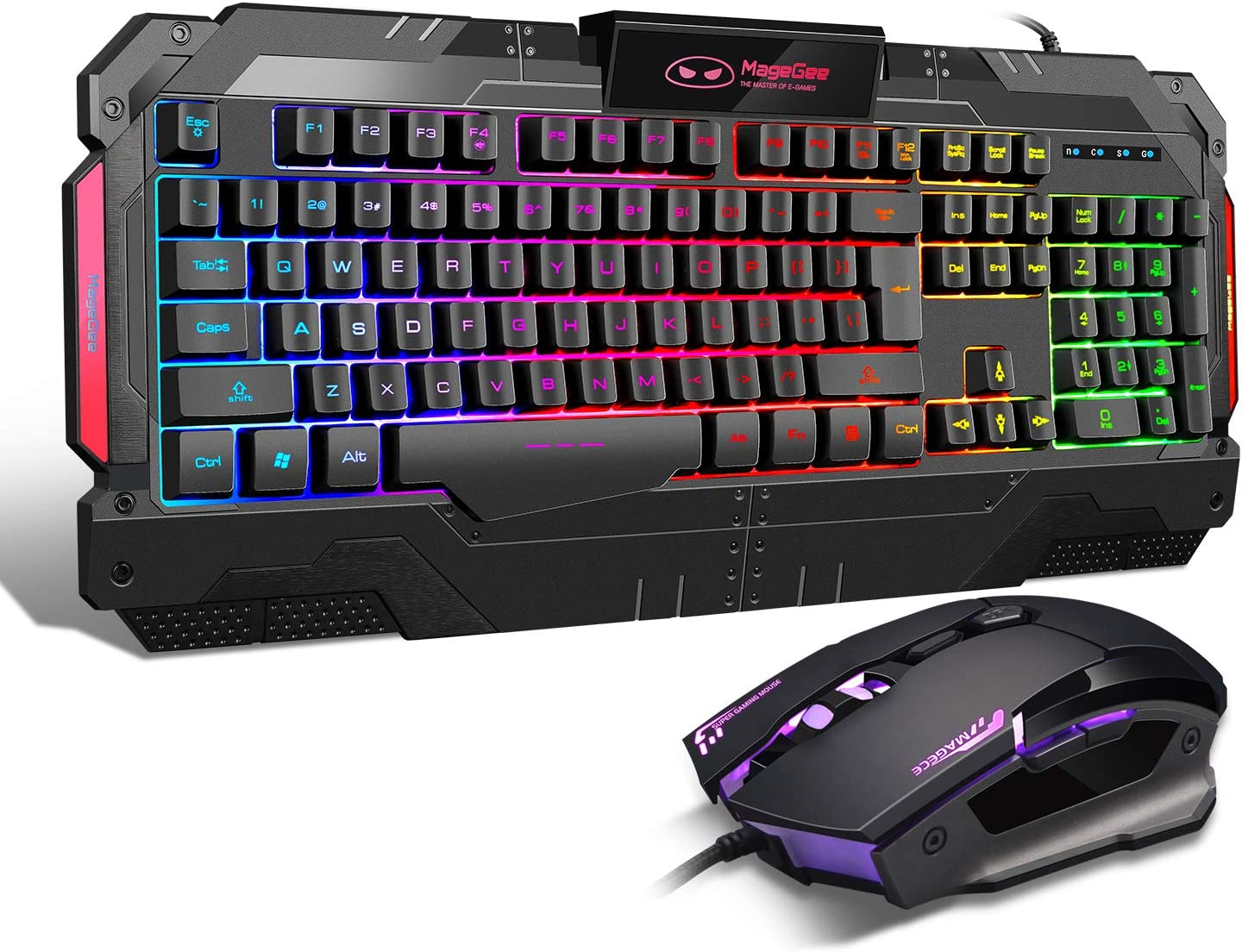 USB Gaming Mouse Gaming Keyboard Combo, GK806 LED Rainbow Backlit Keyboard and Mouse Set, G7 Gaming Mouse and Keyboard 104 Key Computer PC Gaming Keyboard with Wrist Rest-Black
