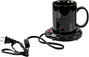 HOME-X Black Mug with Mug Warmer Set, Coffee Accessory for Home or Office, Small Electric Coffee Mug Plate Warmer, Heated Mug Coaster, 3 1/2