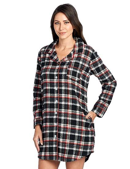 513e5b5e22 Ashford   Brooks Women s Flannel Plaid Sleep Shirt Button Down Nightgown