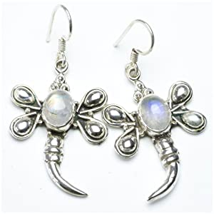StarGems(tm) Natural Rainbow Moonstone Unique Punk Style 925 Sterling Silver Earrings 1 1/2