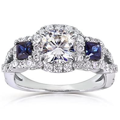 Near Colorless (F G) Moissanite Engagement Ring With Sapphire U0026 Diamond 2  CTW 14k