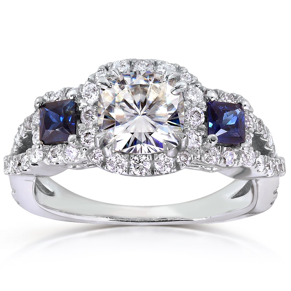 Near-Colorless (F-G) Moissanite Engagement Ring with Sapphire & Diamond 2 CTW 14k White Gold, Size 5