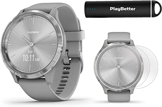 Garmin vivomove 3 (Silver/Gray) Power Bundle | +HD Screen Protectors & PlayBetter Portable Charger | Hidden Touchscreen, Analog Look | Hybrid GPS Smartwatch