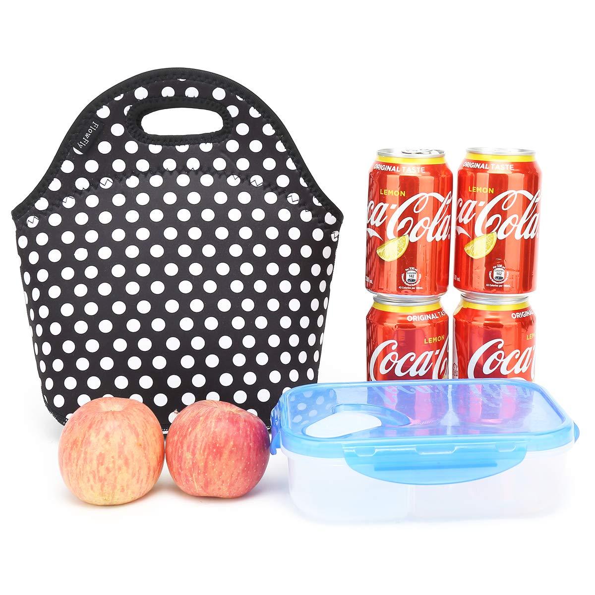 Neoprene kids Lunch box Insulated Soft Bag Mini Cooler Thermal Meal Tote Kit for Boys Girls,Men,Women,School,Work Office by FlowFly,Black