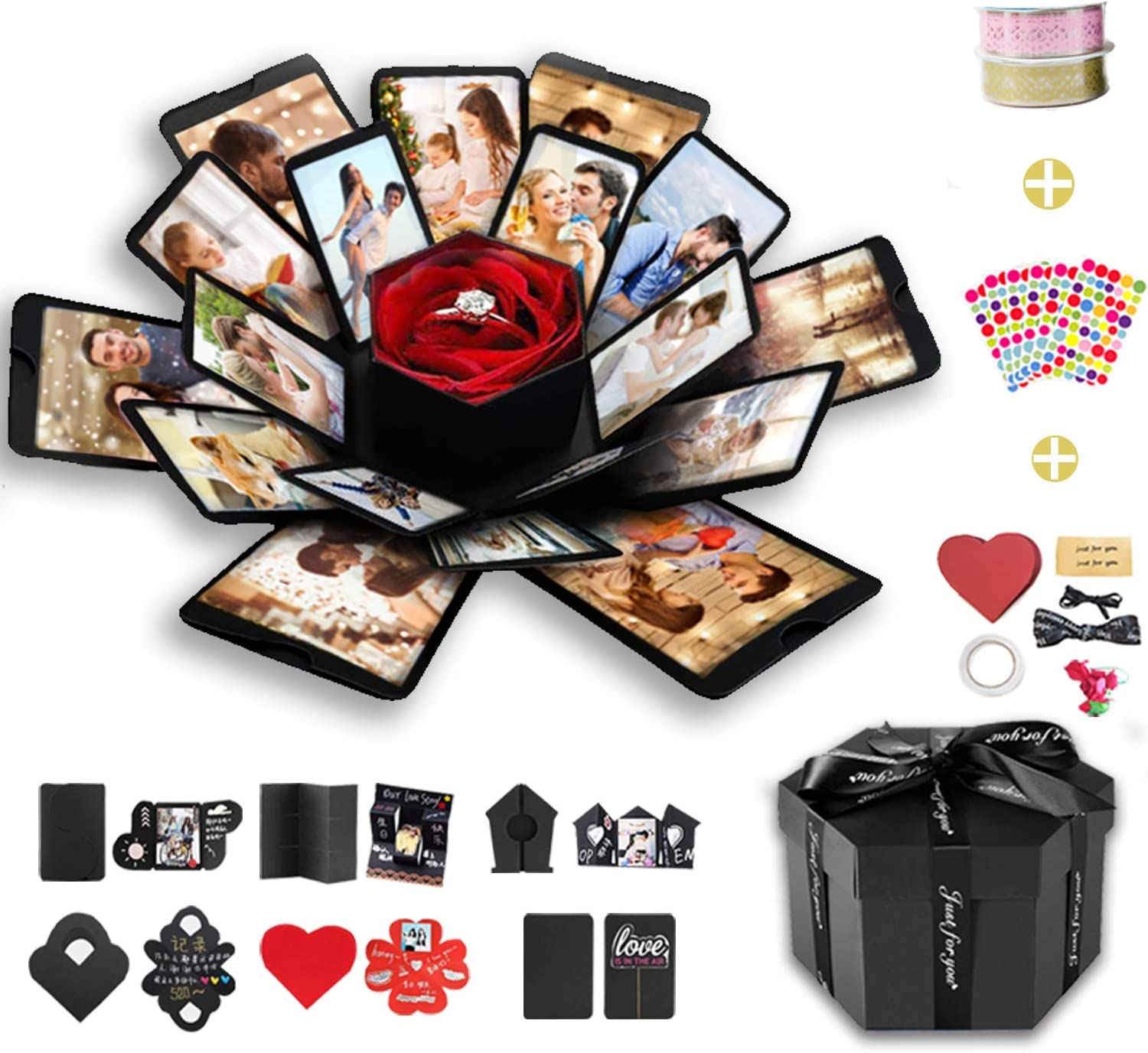 DIY Explosion Gift Box with 6 Faces Anniversary Valentines Day Black Wanateber Explosion Box Assenbled Handmade Photo Box for Birthday Gift Wedding