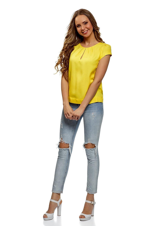 oodji Ultra Mujer Blusa de Viscosa con Cremallera: Amazon.es: Ropa y accesorios