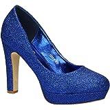 12c9c597109813 King Of Shoes Klassische Damen Glitzer Pumps Stilettos High Heels Plateau  Abend Schuhe Bequem 315