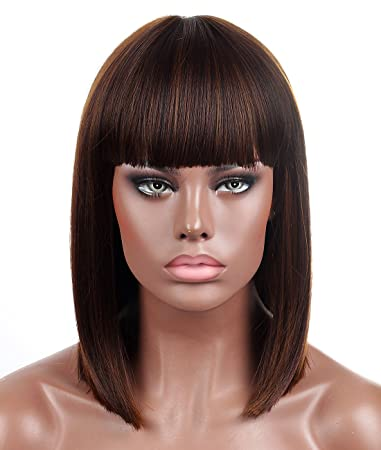 Kalyss Blunt Bob Short Hair Wigs for Women Heat Resistant Yaki Synthetic  Hair Brown Highlights Women s 2d1b3c1eb9
