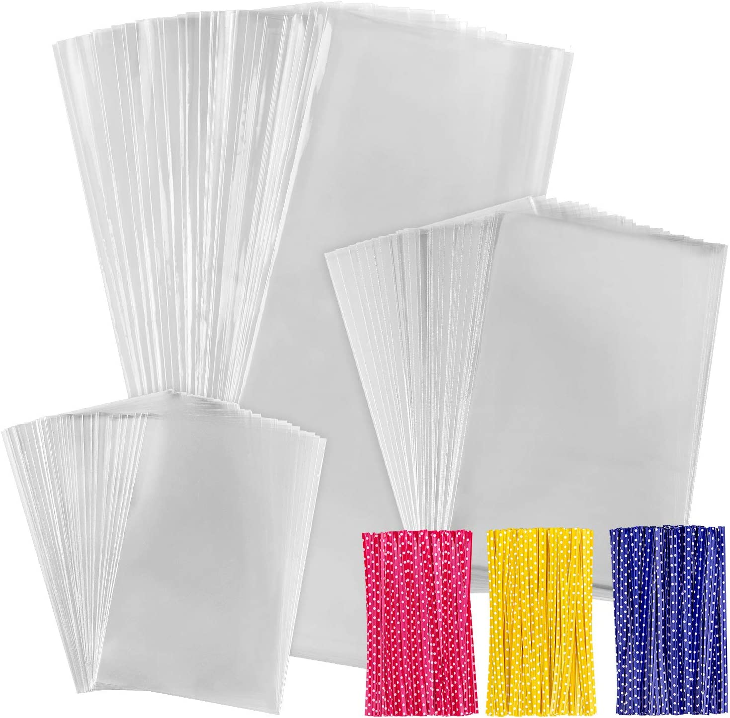 300 PCS Clear Cellophane Treat Bags with 300 PCS 4
