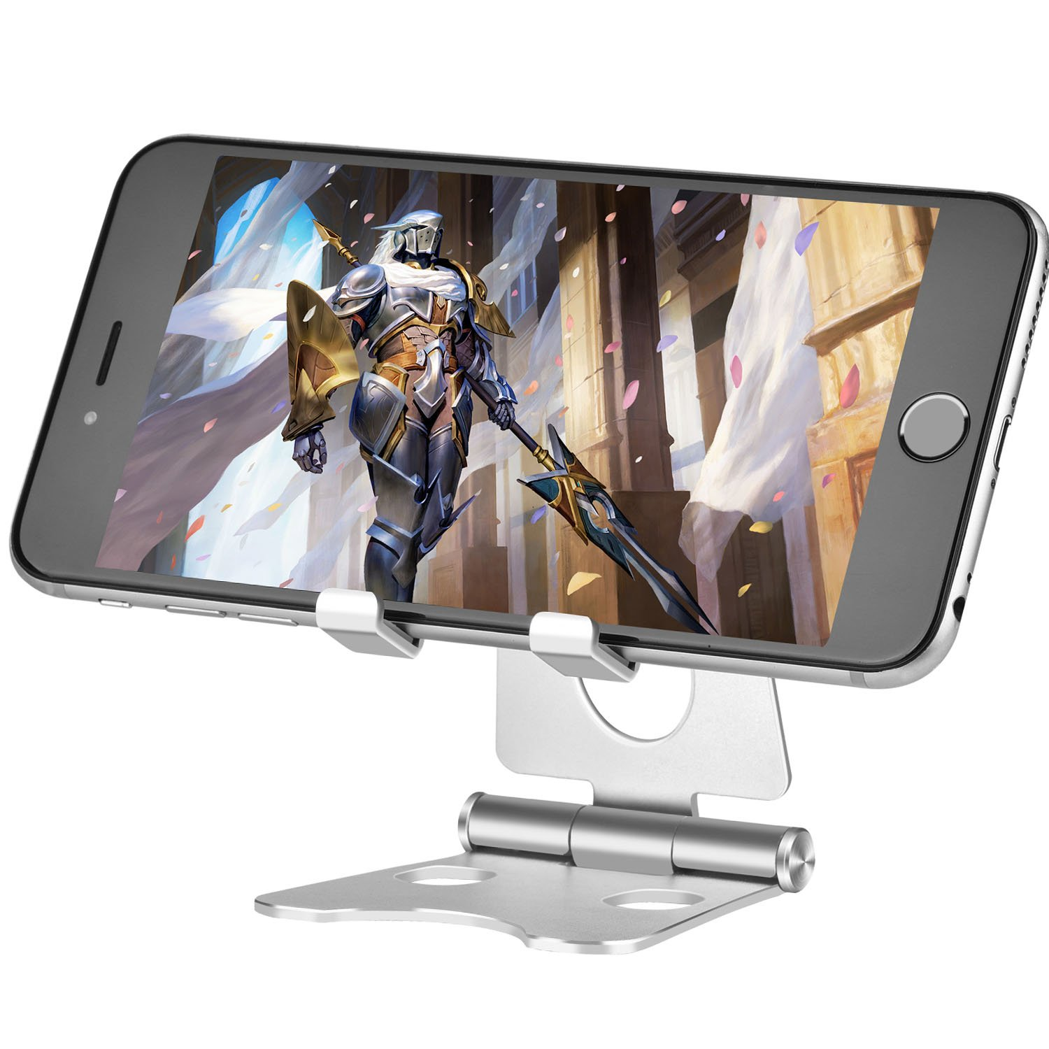 Cell Phone Stand Portable Tablet Stand for iPhone Android Smartphones iPad Tablet and Nintendo Switch Adjustable and Foldable Design(Silver)