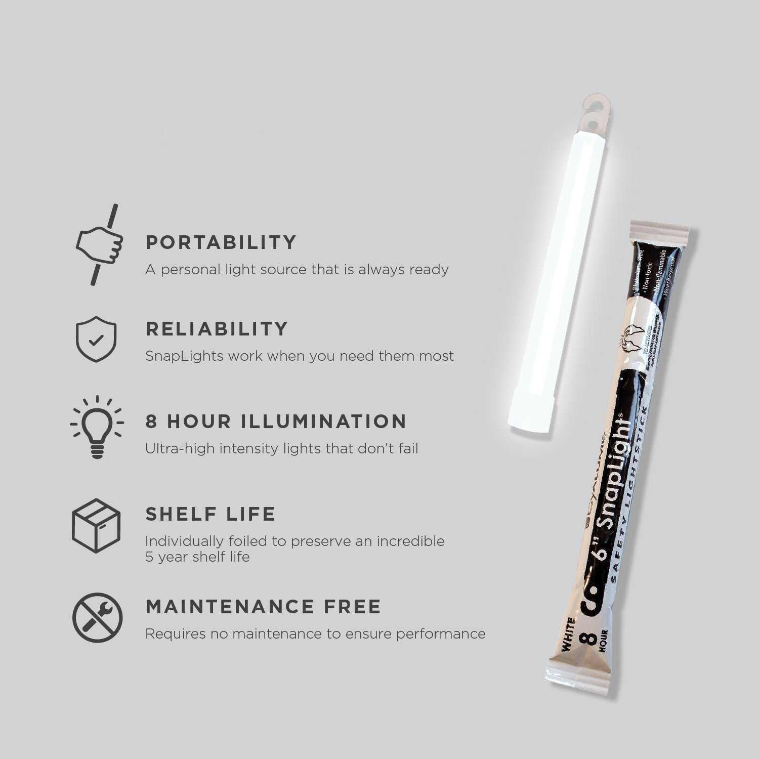 Cyalume SnapLight White Light Sticks – 6 Inch Industrial Grade, High Intensity Glow Sticks with 8 Hour Duration (Pack of 30) by Cyalume (Image #5)