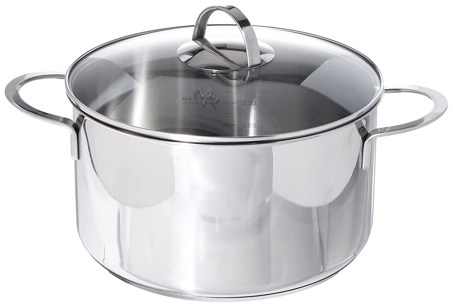 Mr Rudolf 3.2 Quart 18/10 Stainless Steel 2 Handle Stock Pot with Glass Lid Dishwasher Safe PFOA Free Stockpots Casserole 20cm 3 Liter Dutch Oven Ltd LN-2011