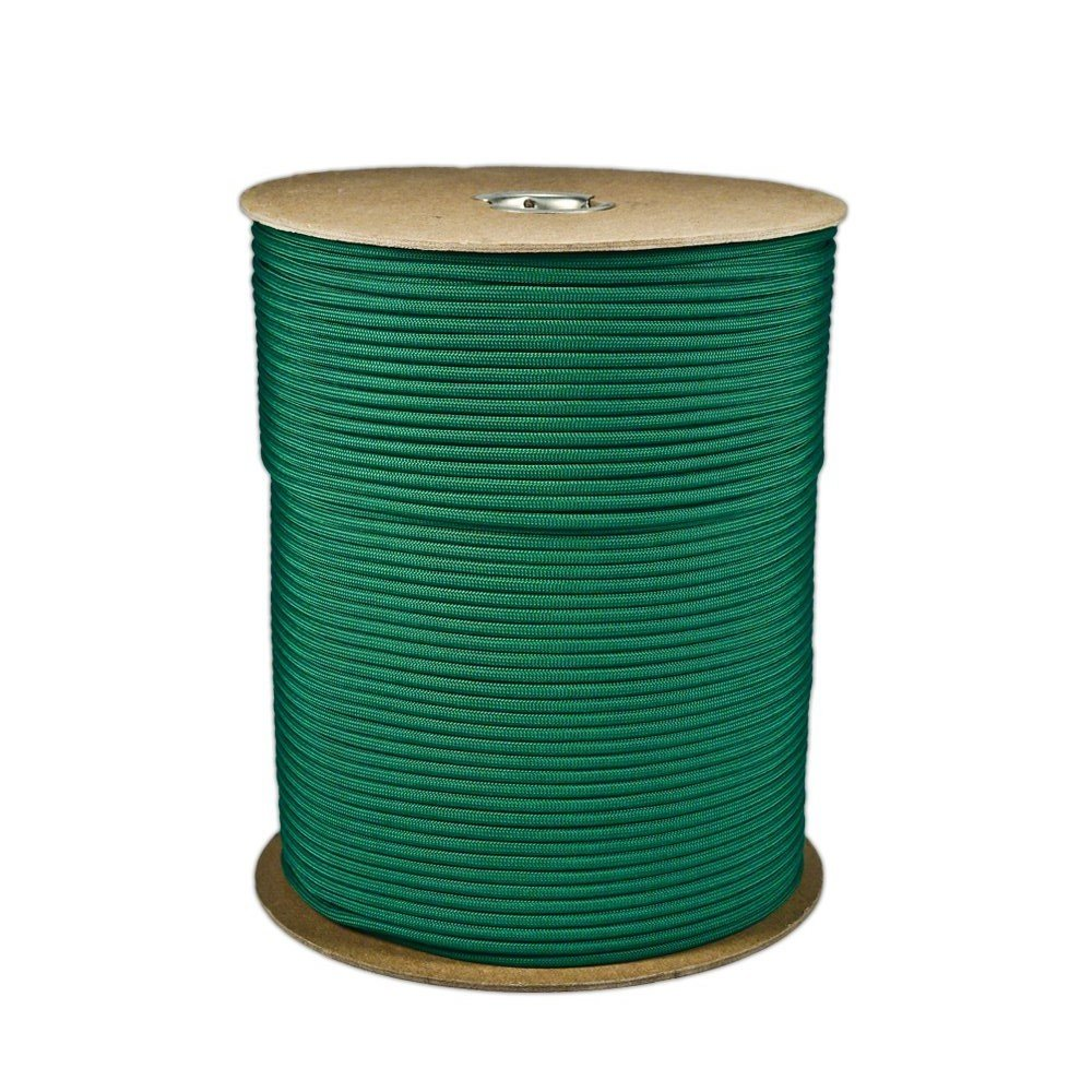 SGT KNOTS Paracord 550 Type III 7 Strand - 100% Nylon Core and Shell 550 lb Tensile Strength Utility Parachute Cord for Crafting, Tie-Downs, Camping, Handle Wraps (4mm - 1000 ft - Kelly Green) by SGT KNOTS